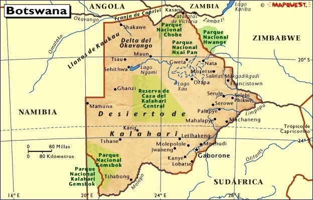 Desierto De Kalahari Mapa.Mapa De Botswana Mapas Mapamapas Mapa