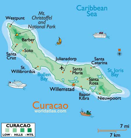 Mapa De Curazao Mapas Mapa