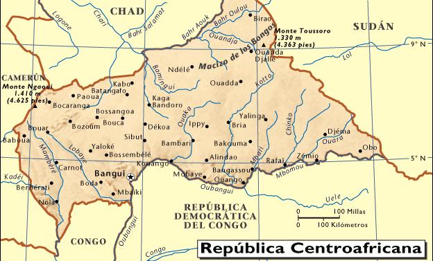 Mapa De República Centroafricana Mapas Mapa